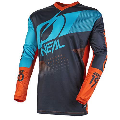 O'NEAL | Mountainbike Langarm-Shirt | Kinder | MTB DH FR Downhill Freeride | Atmungsaktives Material, Gepolsterter Ellbogenschutz | Element Youth Jersey Factor | Grau Orange Blau | Größe L