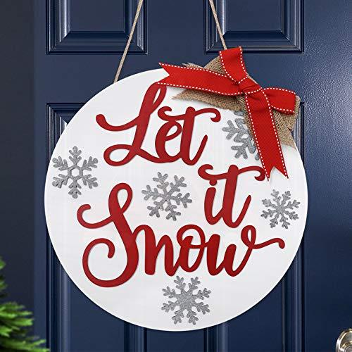 Let It Snow Door Hanger Winter Door Sign Rustic Xmas Wreath Holiday Front Door Decor Snowflake...