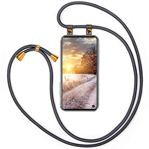moex Handykette kompatibel mit Samsung Galaxy S10 - Silikon Hülle mit Band - Handyhülle zum Umhängen - Hülle Transparent mit Schnur - Schutzhülle mit Kordel, Wechselbar in Anthrazit