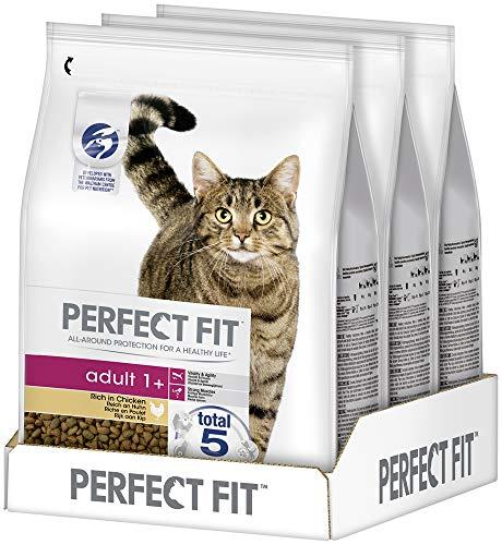 Perfect Fit Adult 1+ – Trockenfutter für erwachsene Katzen ab 1 Jahr – Reich an Huhn – Unterstützt die Vitalität – 3 x 2,8 kg