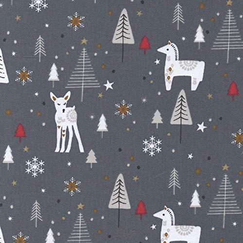 Higgs & Higgs - Frans Kerstpaard Dala Paard en Bambi op Grijs - Nojka - Katoen Kerst Stof metre French Christmas Horse and Bambi on Grey - Nojka