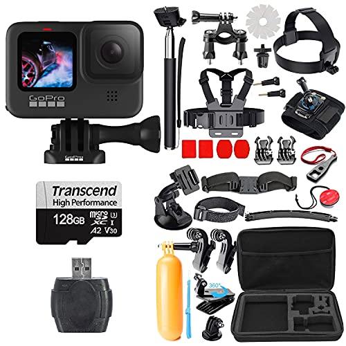 GoPro Hero 9 Black with Micro SD + Striker 38 Piece Action Accessory Bundle (128GB)