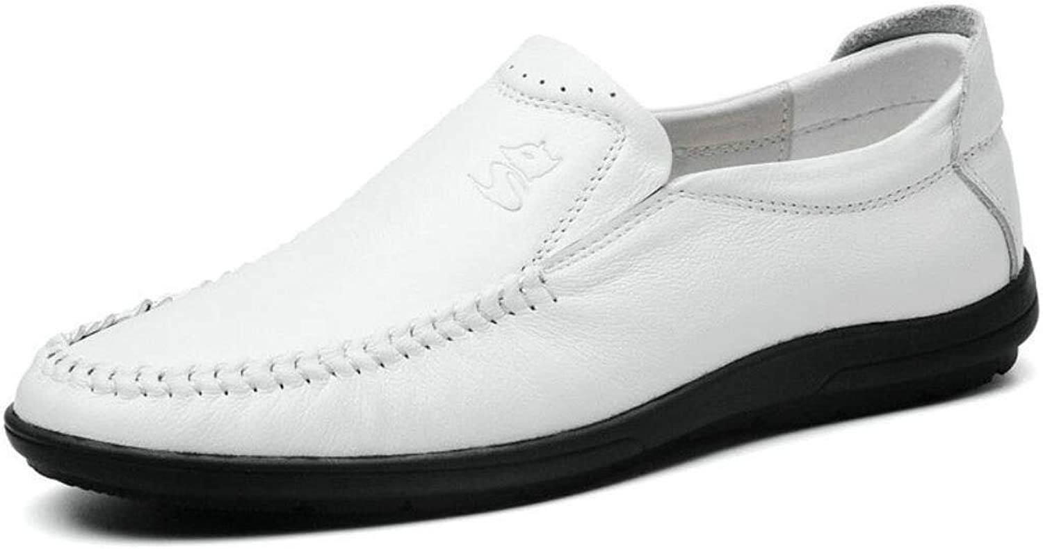 Men's shoes Leather Loafers & Slip-Ons Non-Slip Shock Absorption Driving shoes for Wedding Casual Party & Evening Outdoor Office YAN (color   White, Size   41)