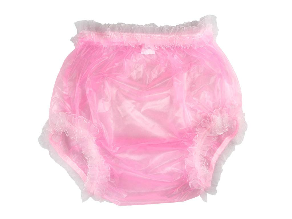 Haian Adult Incontinence Pull-on Plastic Pants Lace Panties with White Lace (XX-Large, Transparent Pink)