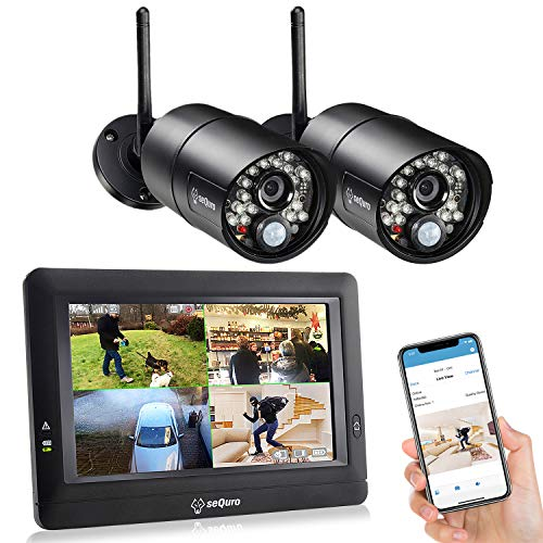 SEQURO GuardPro Wireless Security Camera System with 7 Inch Monitor, Weatherproof Outdoor Night Vision HD AC-Powered Camera and Home Surveillance 4CH Monitor DVR Kit with Smartphone Access, 2-cam Kit