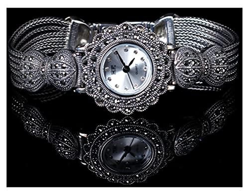 CHXISHOP Reloj de plata de ley 925 para mujer, arco retro, esfera redonda con incrustaciones de circonita, reloj de pulsera gótico retro, blanco - 16,5 cm