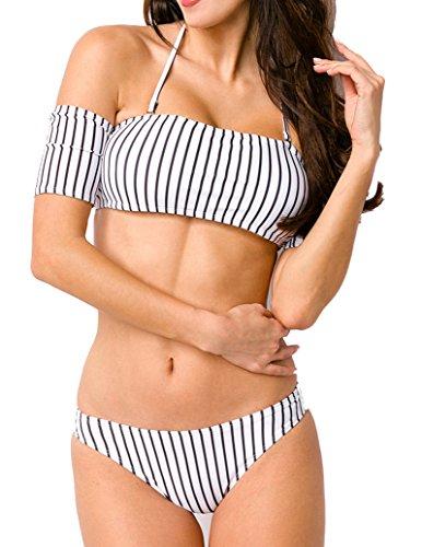 Unbekannt Damen Neckholder Bikini mit Streifen Muster Bademode Carmen-Ausschnitt Kurze Ärmel Optik M
