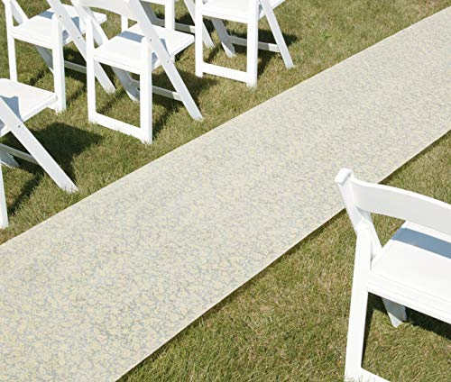 Hortense B. Hewitt Wedding Accessories Fabric Aisle Runner, 100-Feet Long, Ivory Floral