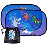 BlueBino Sonnenschutz für Ihr Baby mit UV Schutz - Sonnenblenden-Set für Kinder im Auto - Blendschutz mit Tiermotiven inklusive praktischer Tasche