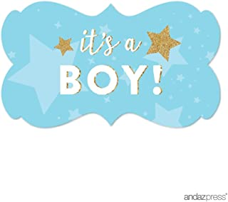 Andaz Press Twinkle Twinkle Little Star Baby Blue Baby Shower Collection, Fancy Frame Label Stickers, It's a Boy!, 36-Pack