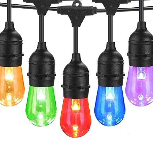 BRTLX Bunt LED S14 Lichterkette Glühbirne Aussen,IP65 Wasserdicht,15M RGBW Lichterkette Garten mit 16 LED Bruchsichere Birnen E27 und Fernbedienung für Hochzeit Party Weihnachten Café (1 Ersatzlampen)