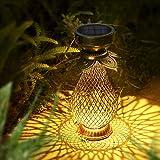 Solarlaterne für Außen, Görvitor LED Retro Dekorative Solarlampe Garten Laterne, Solarlaterne Hängend IP44 Wasserdicht, LED Solar Laterne Dekolampe für Draussen (Metall)