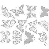 24 Pezzi Adesivi per Finestre a Farfalla, Adesivi per Vetri Anti-collisione, Adesivi per Finestre, Decalcomanie, Adesivi Murali, Decalcomanie da Muro, Decalcomanie a Farfalla Traslucide