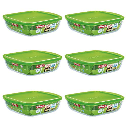 Pyrex Microwave Safe Classic Sqaure Glass Dish with Vented Lid 1 Litre Green (Pack of 6)