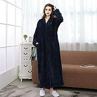 SDCVRE Winter bathrobe,New Style Nightwear Autumn Winter Zipper Long Bathrobe Nightgown Men and Women Coral Fleece Flannel Robe Leisure Sleepwear,Women 1,80,100kg