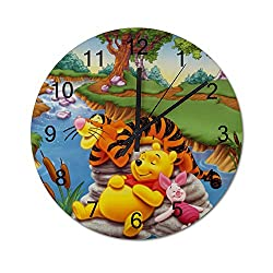 MEIMEI 12 inch Wooden Indoor Silent Decorative Battery Operated Lager Wall Clock for Living Room Home Office School Rustic Clock Round Wall Clock-Winnie and Tigger is Sleeping