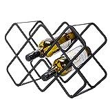 QIQIDIAN Bodega De Diamantes Estante De Vino Wine Rack Adornos Cobera Rack Al Revés Inicio Vino Mostrar Estantería Creativo Moderno Simple Rejilla,Negro,5 Bottles