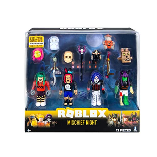 Roblox ROG0126 Mischief Night 4-piece figures pack play set with 4 action figures, accessories and game code for children from 6 years