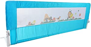 Baby Bed Rail Guard, Blue 70x25 Inch Visual Mesh Bed Saftey Fence for Chilren Toddler