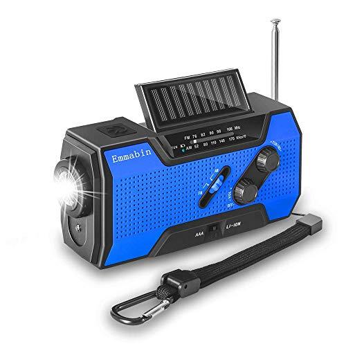 Emmabin 非常用照明器具 ラジオライト 手回し充電 USB充電 防災ラジオ2000mAH地震 震災 津波 台風 停電緊急対策 iPhone Android スマホ充電対応可能 手巻きラジオ 説明書付き Blue