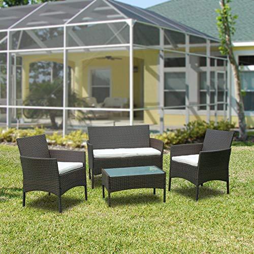 Hengda Conjunto de muebles de jardín de polirratán para 4 personas, incluye asiento acolchado y mesa, color marrón, cómodos muebles de jardín para balcón, jardín, terraza