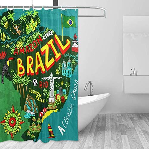 N \ A Landkarte von Brasilien Duschvorhang für Badezimmer Bad Schatten mit Haken, ungiftig & geruchlos, wasserabweisender Stoff, groß, Heimdekoration, 152 x 182 cm