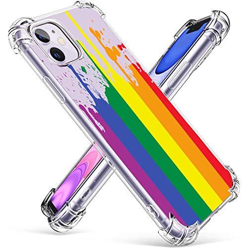 Funda transparente para iPhone 11 de 6.1 pulgadas 2021, suave y flexible TPU a prueba de golpes, para hombres, mujeres y niñas, diseño divertido de la bandera del arco iris