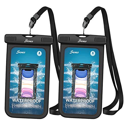 Seneo Wasserdicht Handyhülle 2 Stück 6, 5 Zoll, DOPPELT VERSIEGELT, wasserdichte Handytasche, Staubdicht für iPhone 11/iPhone X/XR/XS/XS MAX/8/7/Galaxy S20/S10/S9/S8/S7/Mate 20/P30/P20/P10, Schwarz
