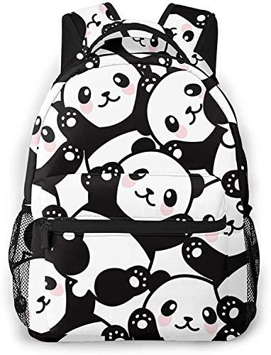 Peligro cintas rojas y blancas básicas de viaje portátil mochila novedad escuela bolso lindo panda