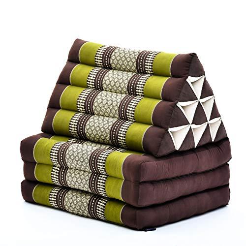 Leewadee Colchón Tailandés Alfombra Plegable con Cojín Triangular Cojín De Suelo Cojín De Lectura Colchoneta De Relajación Orgánico Naturalmente Ecológico, 170x53x40 cm, Capok, marrón Verde