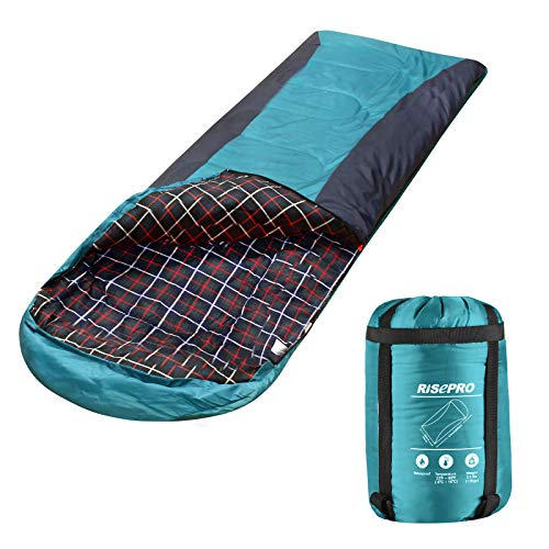 RISEPRO Flannel Sleeping Bag Lightweight, Portable, Waterproof 3-4 Seasons Warm Cold Weather Sleeping Bag for Adults & Kids - Indoor & Outdoor: Camping, Backpacking, Hiking (Green)