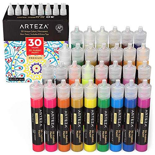 Arteza Fabric Paint 3D, Set of 30, 1oz (29 ml) Tubes, Glow-in-The-Dark, Vibrant, Metallic & Glitter Textile Paint for Clothing, Accessories, Ceramic & Glass