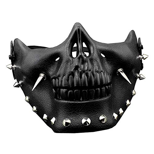 Steampunk Mask Men Masquerade Skeletal Spike Half Face Skull Mask Costume Cosplay