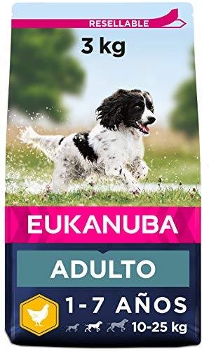 Eukanuba Alimento seco para perros adultos activos de raza mediana,, rico en pollo fresco 3 kg