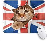 NINEHASA 可愛いマウスパッド 動物の英国の旗は無邪気な目でかわいい猫によって壊れています ノンスリップゴムバッキングコンピューターマウスパッドノートブックマウスマット