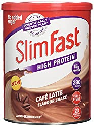 Meal replacement powder shake. Replace 1 to 2 meals per day as part of the SlimFast 3.2.1. Plan Just add 250ml skimmed milk to each serving Every serving contains 15g protein and 23 essential vitamins & minerals No added sugar Café Latte flavour