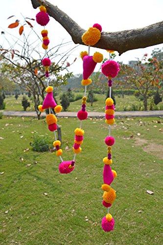 VLiving Bohemian Home Décor Pompom Handmade Marigold Fuschia Garland (Size 1 meter)