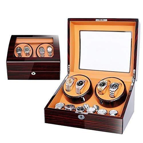 HAOYANG-caja de reloj- Wooden Quad Automatic Unisex Watch Winder, 5 cuadros de almacenamiento de temporizador de modo para 4 relojes Función para relojes de pulsera Colección de pulsera de joyería / H