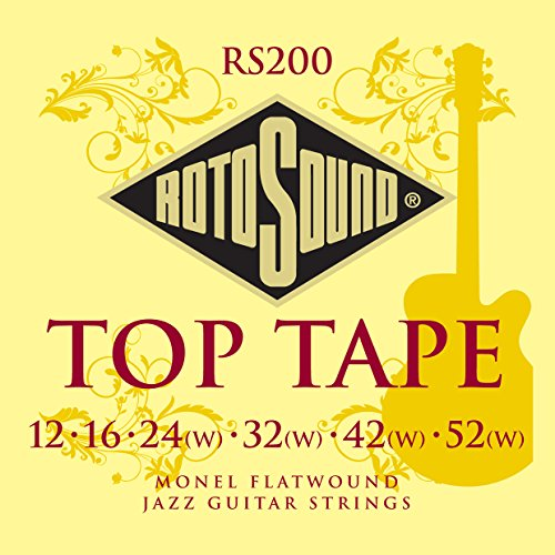 Rotosound RS200 Top Tape Monel Flatwound Electric Guitar String (12 16 24 32 42 52)