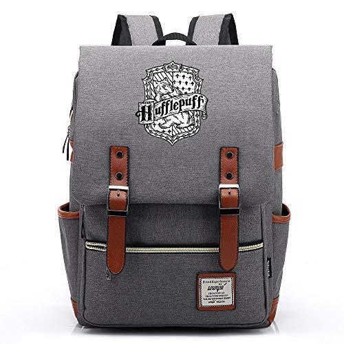 NYLY Adolescente casuale retro rucksack hogwarts School Hufflepuff Academy backpack Magic Book borsa unisex Grande Grigio