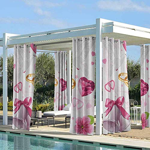 ParadiseDecor Wedding Outdoor Porch Curtains for Front Porch/Garden Wedding Themed Artwork Invitation Announcement Hearts Rings Birds Happiness Pink White Gold 108W x 63L Inch