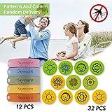 Skymore Pulseras repelentes de mosquitos, pulseras anti-mosquitos de 12 piezas y 32 parches para adultos y niños con brazalete repelente