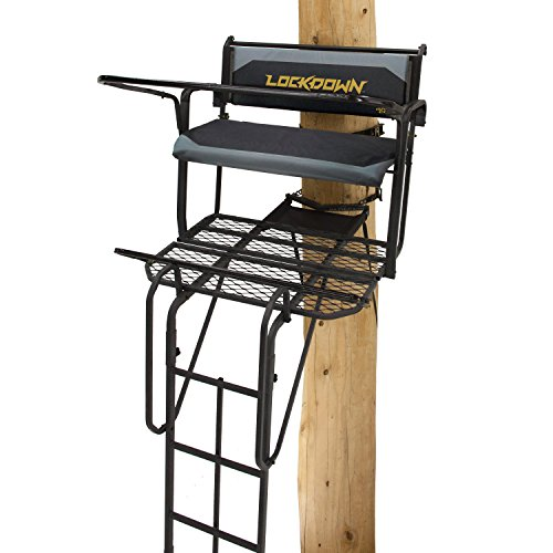 Rivers Edge RE650, Lockdown 21' 2-Man Ladder Tree Stand, Extra Tall 21' Height with Flip-up Padded Bench Seat, Wide 42' Platform