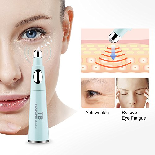 TOUCHBeauty 2 in 1 Sonic Vibration Eye Massager with Soft Facial Cleanser Brush, Waterproof Face...
