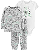 Carter's 3 Piece Little Character Set, Roarable Grey Dinosaurs, 12 Months