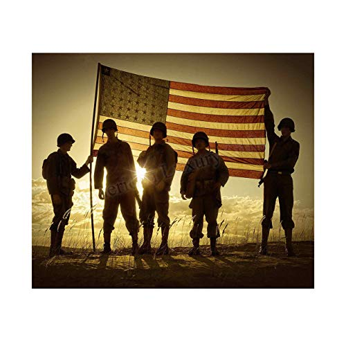'Soldiers Holding Up American Flag' Patriotic Wall Art Sign -10 x 8' US Military Poster Print-Ready to Frame. Perfect Home-Office-Man Cave-Shop-Garage Decor. Great Gift for All Soldiers-Veterans!