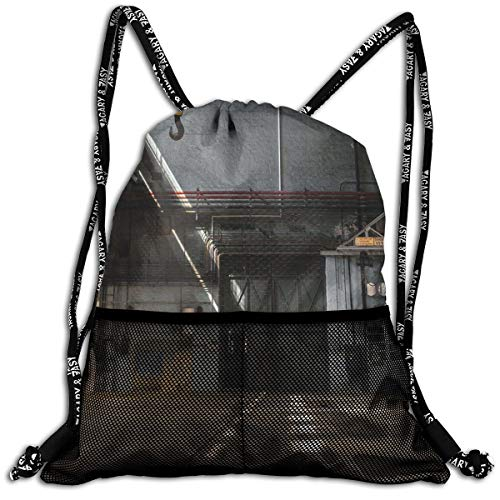 AZXGGV Drawstring Backpack Rucksack Shoulder Bags Gym Bag Sport Bag,Dark Industrial Interior of An Old Building Place of Manufacturing Hangar Print