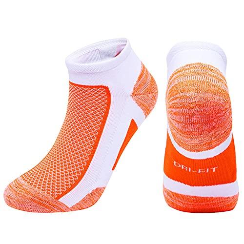 ACEACE Calcetines Deportivos Mujeres Hombres Correr al Aire Libre Correr Maratón Calcetín Corto Cojín de algodón Tobillo Aptitud Tobillo Calcetín de Corte bajo (Color : Orange, Size : US 5-7 EU35-38)