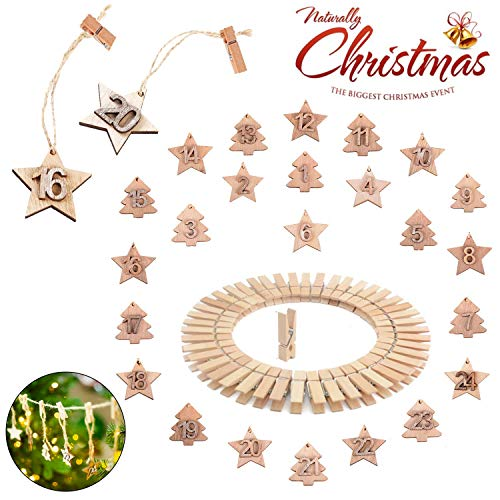 Sunshine smile Colgante de Madera de árbol Estrellas de Navidad,24 Calendario de adviento Colgante de Madera Navidad,Adornos Colgantes de Navidad de Madera número,Etiqueta de Madera de Navidad (A)