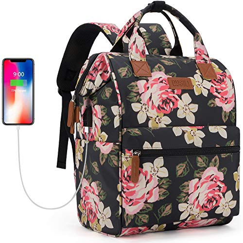 Travel Laptop Backpack, Wide Open Work Bag Lightweight Laptop Bag with USB Charging Port, Anti Theft Business Backpack, Water Resistant School Rucksack Gifts for Men Women (15.6' Peony)